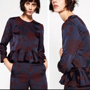Zara Navy Blue Floral Jacquard Peplum Top Size XS